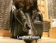 Fetish play subjective video of denim, leather gloves, leather boots